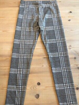 Girls Check Leggings Age 10-11 By F&F