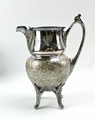 Antique Reed & Barton Nouveau Asian Bird Silverplate Creamer Pitcher 2962