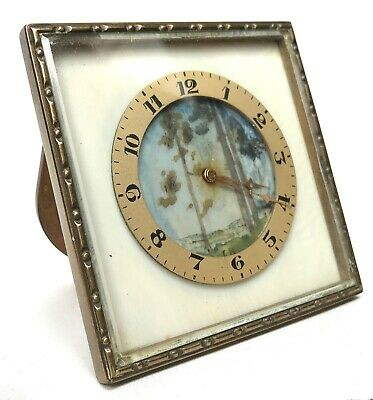 Antique Miniature French Painted Easel Clock With Brass / Bronze Frame