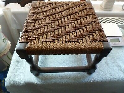 Vintage Antique Style String Woven Solid Oak Frame Rustic Stool with Turned Legs
