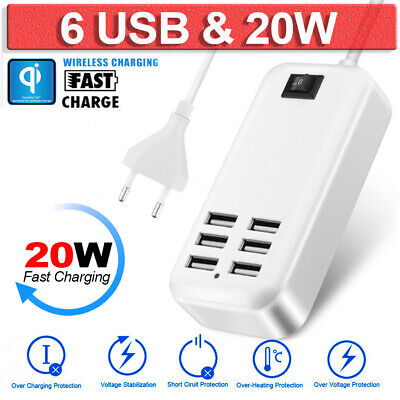 20W 3A 6-Port USB Desktop Multi-Devices Fast Charging Wall Charger Station Hub