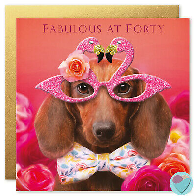 40th Birthday Card for Women or Men Sausage Dog to from the DACHSHUND dog lover