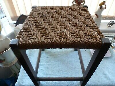 Vintage Antique Style String Woven Solid Oak Frame Rustic Stool