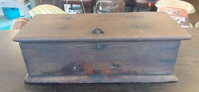 Antique Vintage Wooden Tractor Toolbox