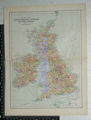 1901 Bartholomew Map of British Isles Administrative Counties & County Boroughs