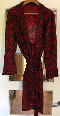 Vintage 1960 Mens Red Tootal Smoking Jacket Dressing Gown Robe Size Medium Mod