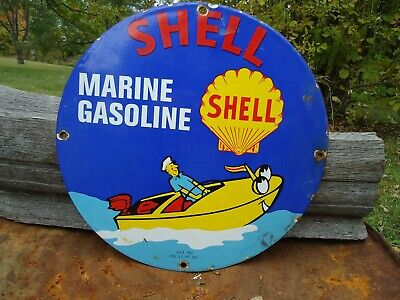 Old Used 1951 Shell Marine Gasoline Porcelain Gas & Oil Pump Sign Advertising