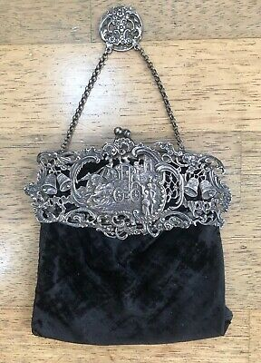 Stunning Antique Sterling Silver Ornate Chatelaine Hand Bag 1903 - Rare