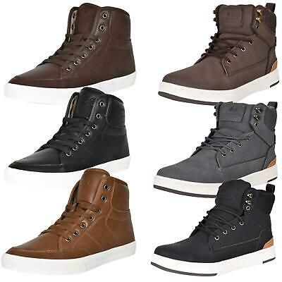 Crosshatch Mens Ankle High Trainers Lace up Flat Tops Sneaker Boot UK Sizes 7-12