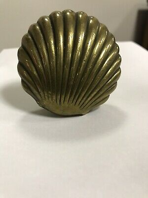 Vintage Antique Solid Brass Scallop Shell Door Knob Architectural Salvage metal