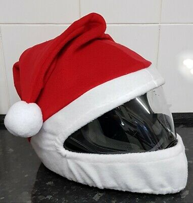 Motorcycle Crash Helmet Covers Santa Run Charity Rides Snowman Elf Santa