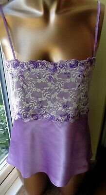 """Camisole Top in Shiny Lilac Polyester by Darjeeeling Lace Trim 34"""" Bust  E8"""