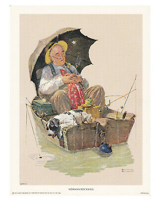 MAN AND DOG IN BOAT GONE FISHING   8X10 poster Norman Rockwell