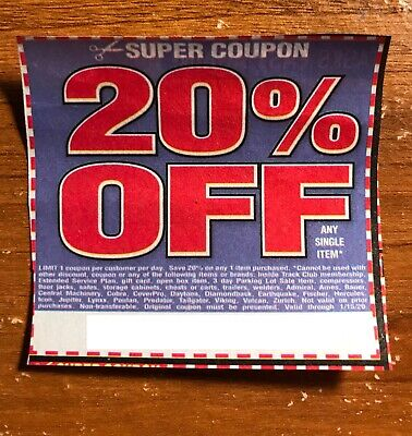 (1) Harbor Freight 20% Off Discount Coupon - Home Depot, Lowe's! Exp. 01/15/20