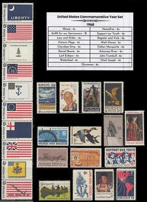 1968 US Postage Stamps Complete Commemorative Year Set Mint