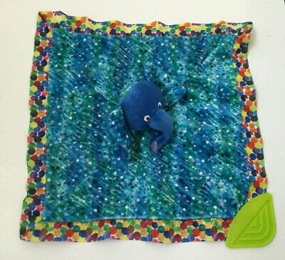 Kids Preferred Eric Carle Baby Lovey Elephant Plush Rattle Teether Blue Colorful