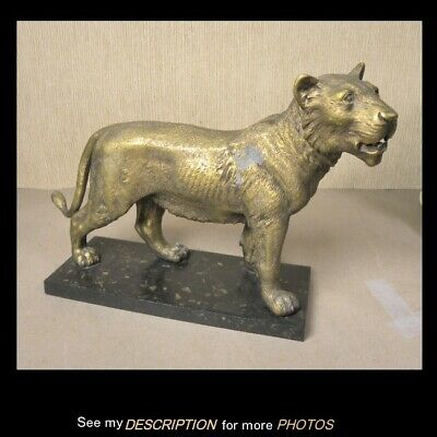 Antique Cast Iron and Metal Figural Lion Doorstop
