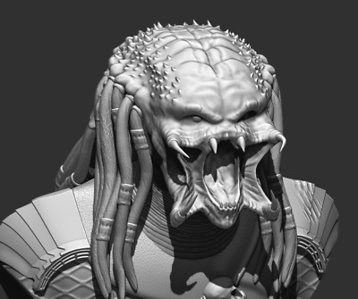 Predator Bust File STL 3D printing created ZBrush Compatible with every Slicer__