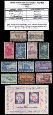 US Stamps 1956 Complete Mint Year Set of Vintage Commemorative Stamps