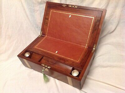 Lovely Victorian Walnut Brass Bound Writing Slope With Working Lock/Key/Inkwells