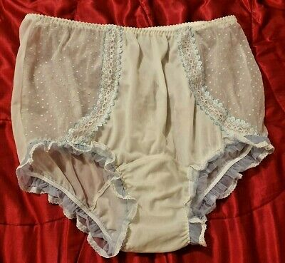 "Vintage Style Panties Knickers Sheer Panels Baby Blue Lace Frills 32-42"" (T17)"