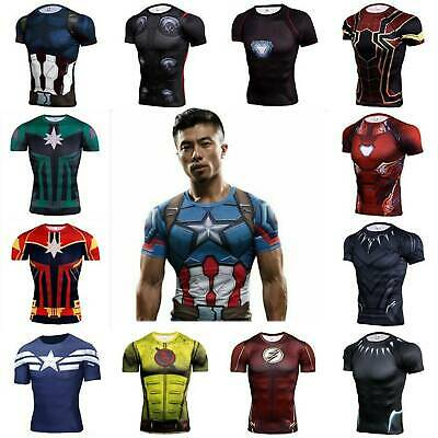 Mens Boys 3D Marvel T-shirts Short Sleeve Gym Sport Super Hero Compression Tops