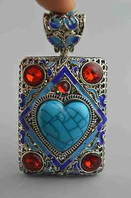 Collectable Handwork Old Miao Silver Carve Flower inlay Turquoise Tibet Pendants