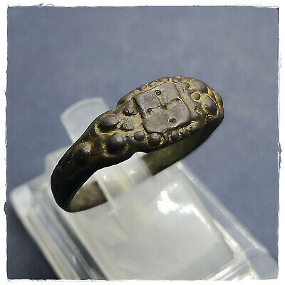 ** CROSS ** ancient bronze fertility  late ROMAN RING ! 3,12 g