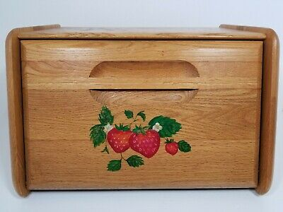 Vintage Bread Box Strawberry Motif Oak Wood Large Kitchen Strawberries