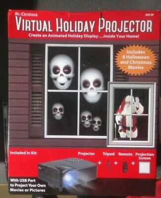 D Mr Christmas Virtual Holiday Projector Halloween Christmas - Lots Of Extras