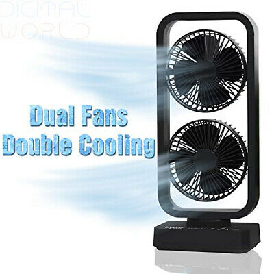 Vykor Dual Fan Portable Tower Black Quiet, USB Cordless...