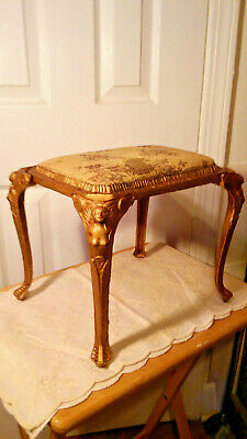 Antique Cast Iron Stool w/ Egyptian Woman's Body on All Four Legs