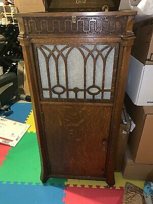 Antique Edison Disc Phonograph Machine Oak cabinet   Working Model #  C-250