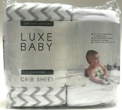 """2 Pack Luxe Baby Organic Crib Sheet Set 100% Soft Cotton Fitted Sheet 28""""x52""""x9"""""""