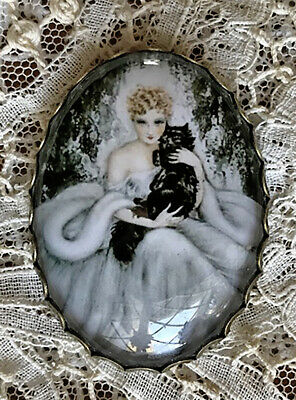 SEXY ART DECO WOMAN AND BLACK CAT Glass DOME BUTTON XL Vintage ILLUSTRATION Art