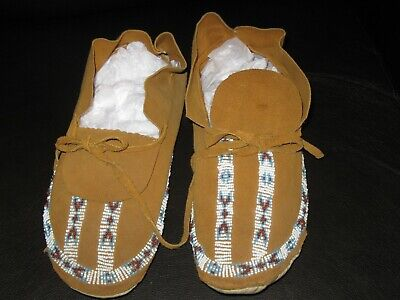 Vintage Leather Beaded Moccasins- Colorado Plains Road Trip 70s Gift Shop