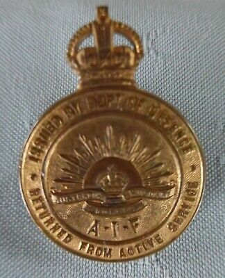 Australia WWI Returned from Active Service Badge #155910 Stokes & Sons Melbourne