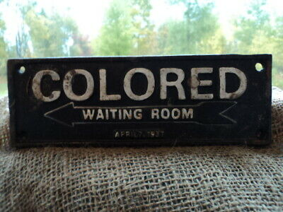 "Old Antique Rustic Heavy Cast Iron Segregation Door Sign ""Waiting Room"" 1937"