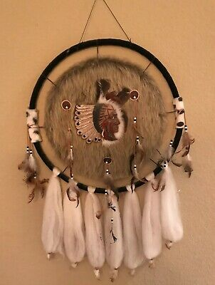 Vintage Native American Indian Large Dream Catcher Fur Wool Feathers Beads