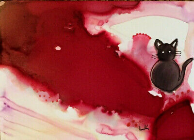 Black cat sitting red background ACEO original painting by Lynne Kohler