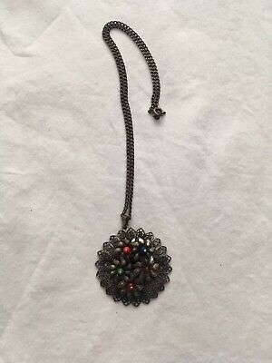Antique Vtg Bohemian Silver On Copper Pendant With Chain