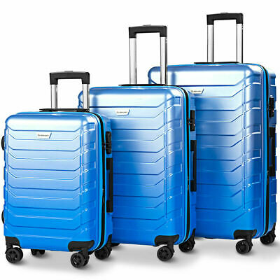 3PCS Luggage Set Expandable ABS Durable Suitcase w/Wheels TSA Lock Travel Blue