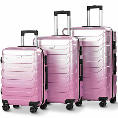 3PCS Luggage Set Expandable ABS Durable Suitcase w/Wheels TSA Lock Travel Pink