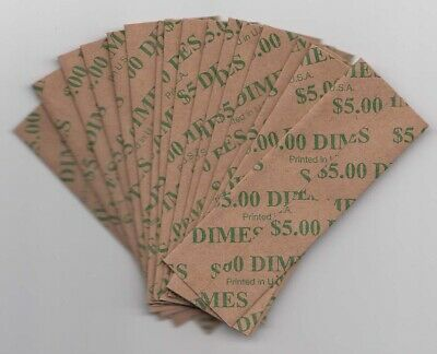 200ct Dime Bundle Flat Striped Coin Wrappers Tubes Paper Wrapper 10 Cent Dimes