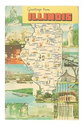Greetings From Illinois Fun Map Vintage Postcard EB46 b