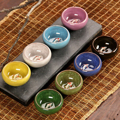 Tea Cup Ceramic Ice-Crackle Porcelain 8 Colors With Fish Pattern Kung fu Tea Set