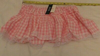 "Adult Baby Sissy Schoolgirl Pink Gingham Mini Skirt, Size Xl,  34""-41"" Waist"