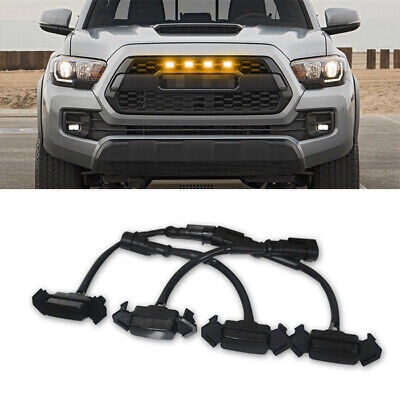4x Smoke Front Grille LED Light Amber For Toyota Tacoma 2016-2019 w/ Pro Grille