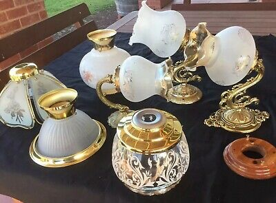 Collection of 7 ART DECO Light Fittings - 3 X Wall Sconces & 4 X Ceiling Shades