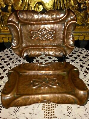 """Art Nouveau Copper pin dishes rectangle trays 6"""" X 4"""" 2 pair"""
